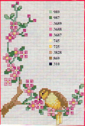 Point de Croix : Patron Fleur et Oiseau dans Fleurs 080125091149178861645352