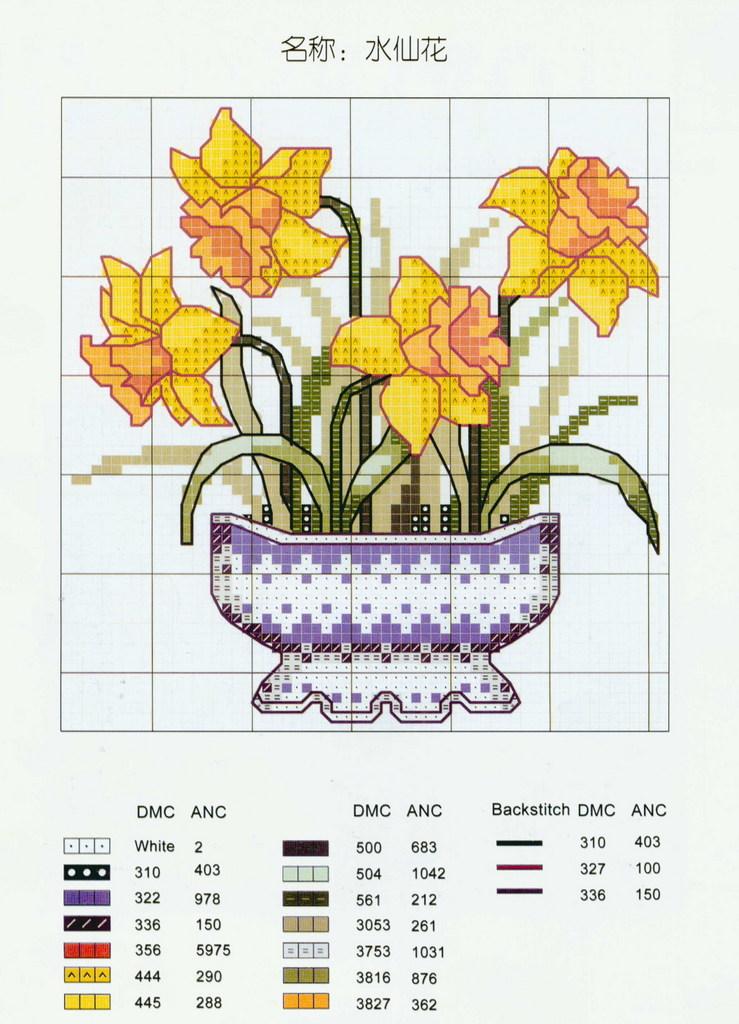 Point de Croix : Patron Vase2 dans Fleurs 080126055524178861647888
