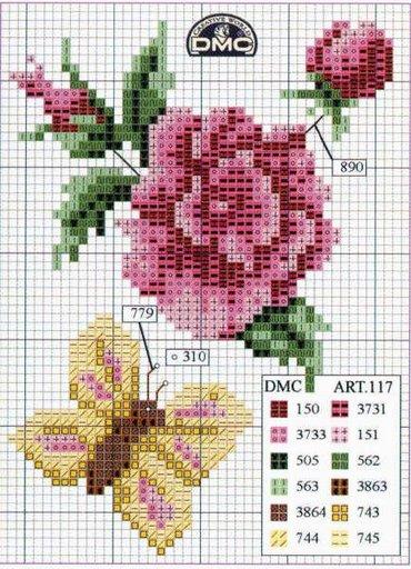 Point de Croix : Grille Fleur & Papillon dans Fleurs 080129041451178861658045