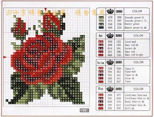 Point de Croix : Grille Fleur dans Fleurs 080129041610178861658050