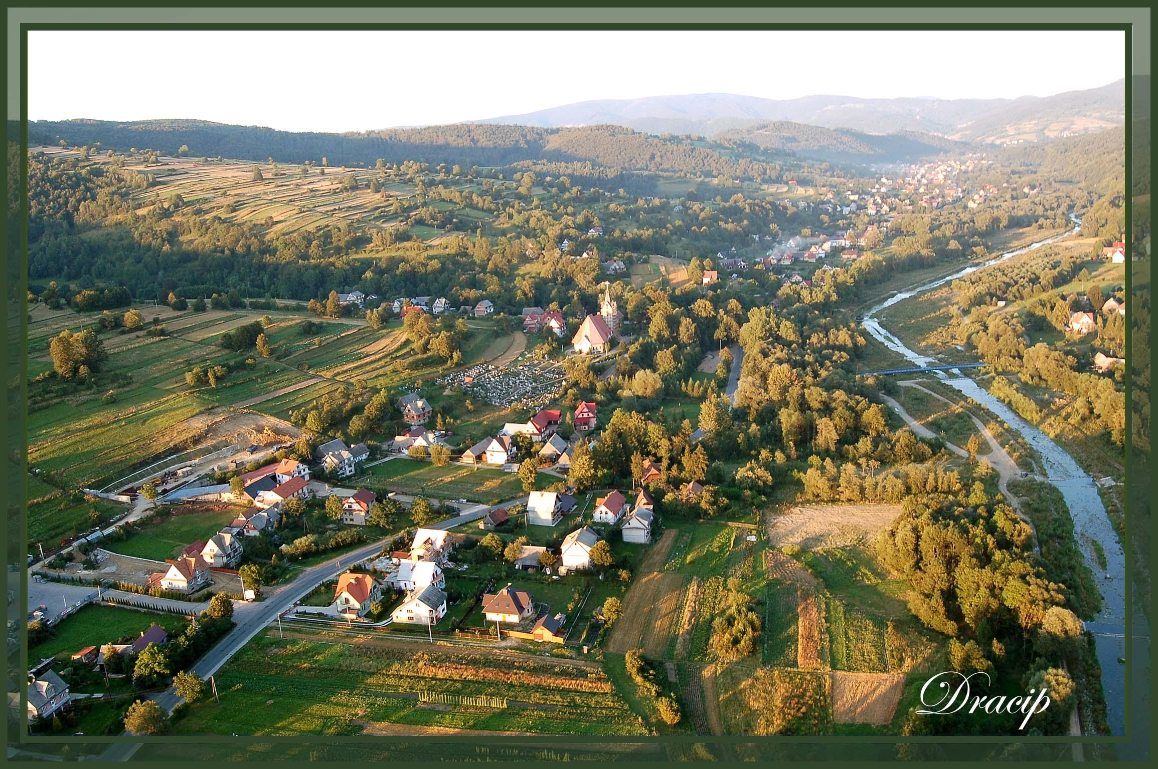 Vue du ciel.Village de Pologne.Reproduction interdite