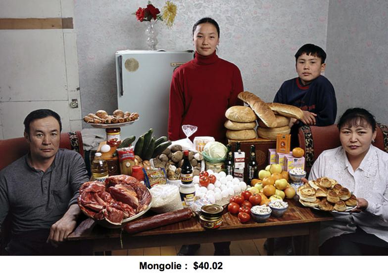 Budget alimentaire hebdomadaire en Mongolie