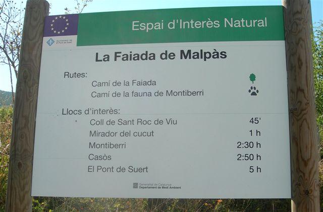 Panneau directionnel du Coll de Sant Roc de Viu