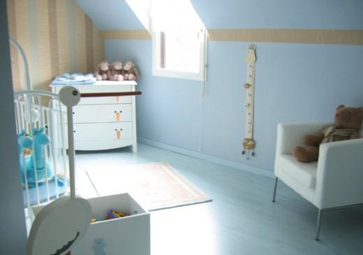 Chambre de b b fille photo p2 for Chambre garcon marron et bleu