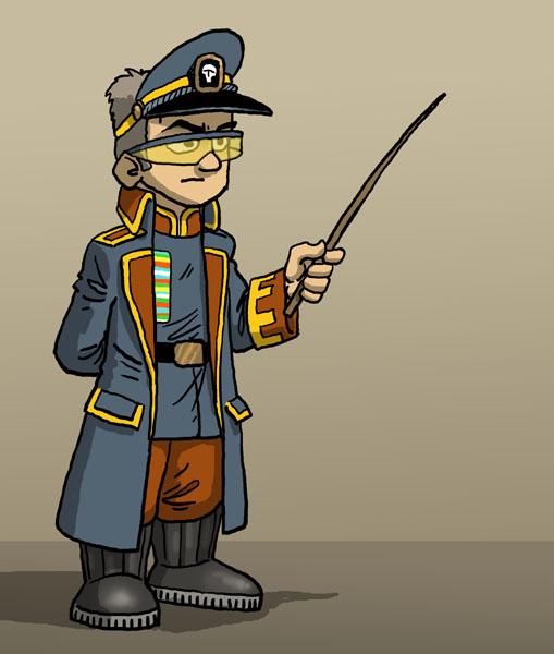 Officier couleur Rouge, Gris-beu, bord jaune
