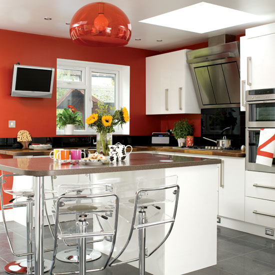 Cuisine Blanche Mur Rouge Fabulous Cuisine Blanche Mur Rouge With