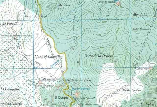 Puertos de la Dehesa et de la Mujer sur carte