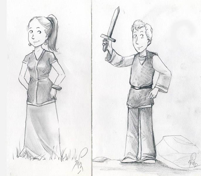 Maya et Titus au crayon par Alda