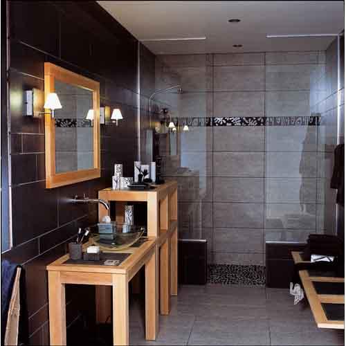 Carrelage mural salle de bain for Salle de bain carrelage gris noir