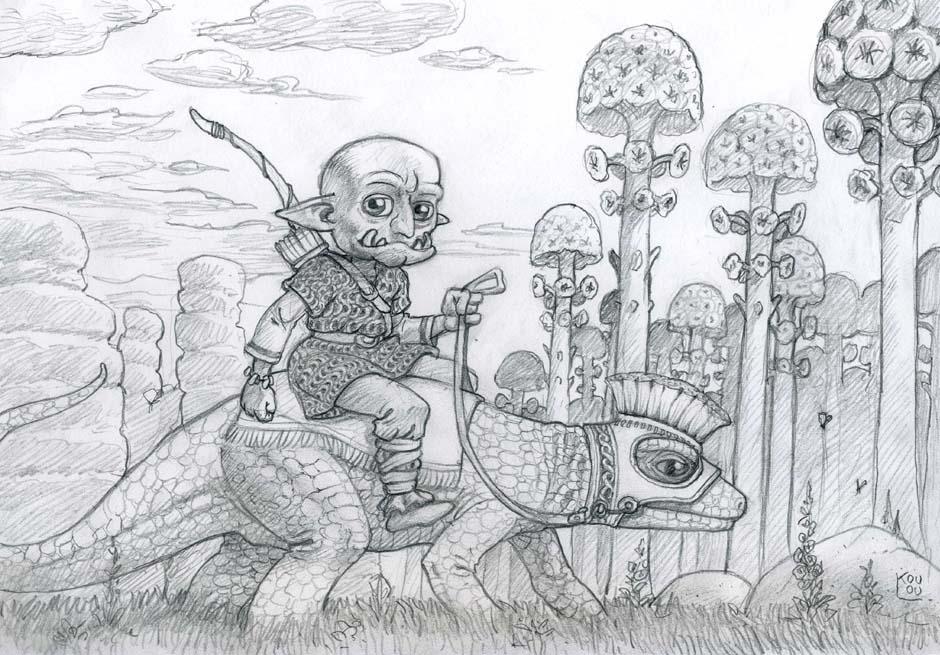 Goblin sur lézard (crayon)