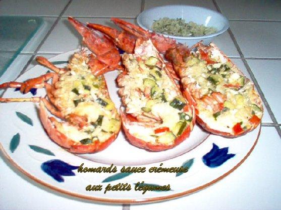 Homards sauce crémeuse aux petits légumes 090618124923203193894627